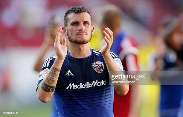 Pascal Gross of Ingolstadt celebrates after winning the Bundesliga match between FC Augsburg and FC Ingolstadt at WWK Arena on August 29 2015 in...