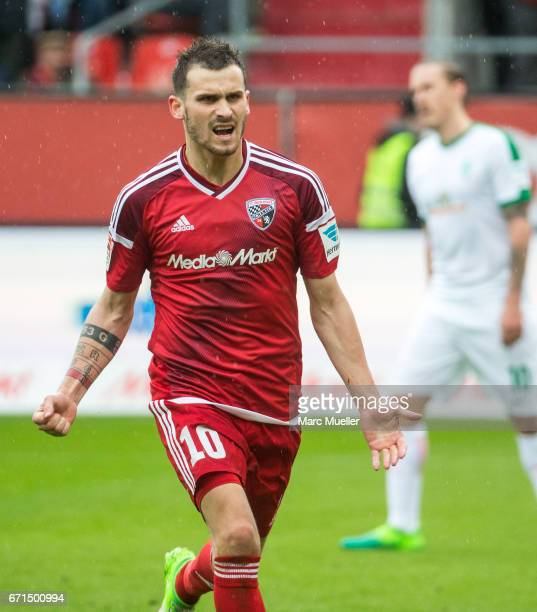 Pascal Gross of Ingolstadt celebrates his goal during the Bundesliga match between FC Ingolstadt 04 and Werder Bremen at Audi Sportpark on April 22...