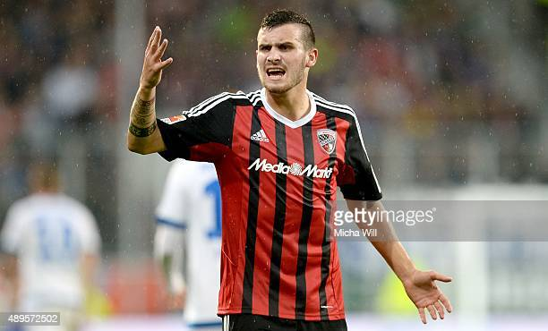Pascal Gross of Ingolstadt reacts during the Bundesliga match between FC Ingolstadt and Hamburger SV at Audi Sportpark on September 22 2015 in...