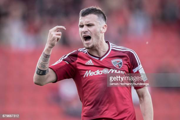 Pascal Gross of Ingolstadt reacts during the Bundesliga match between FC Ingolstadt 04 and Bayer 04 Leverkusen at Audi Sportpark on May 6 2017 in...
