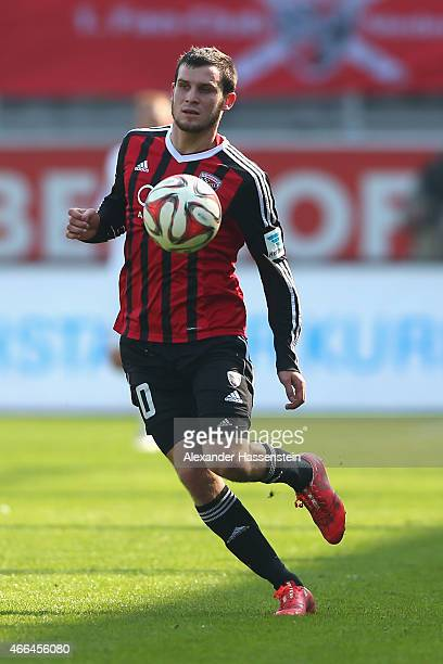 Pascal Gross of Ingolstadt runs with the ball during the Second Bundesliga match between FC Ingolstadt and Karlsruher SC at Audi Sportpark on March...
