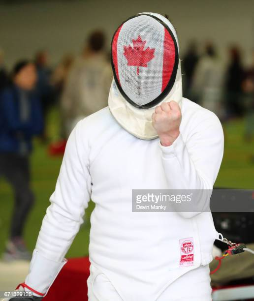 Pascal Heidecker celebrates a point during the Senior Men's Epee event on April 21 2017 at the Canadian National Fencing Championships at the...
