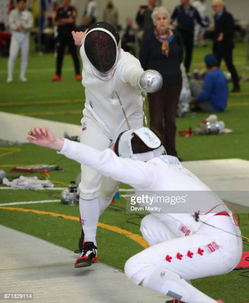 Pascal Heidecker fences Yann Bernard during the Senior Men's Epee event on April 21 2017 at the Canadian National Fencing Championships at the...