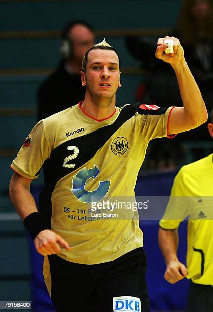 Pascal Hens of Germany celebrates after scoring a goal during the Men's Handball European Championship main round Group II match between Germany and...