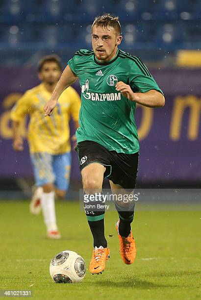 Pascal Itter of Schalke in action during the friendly match between Al Gharafa SC and Schalke 04 at the Al Gharafa Stadium on January 6 2014 in Doha...