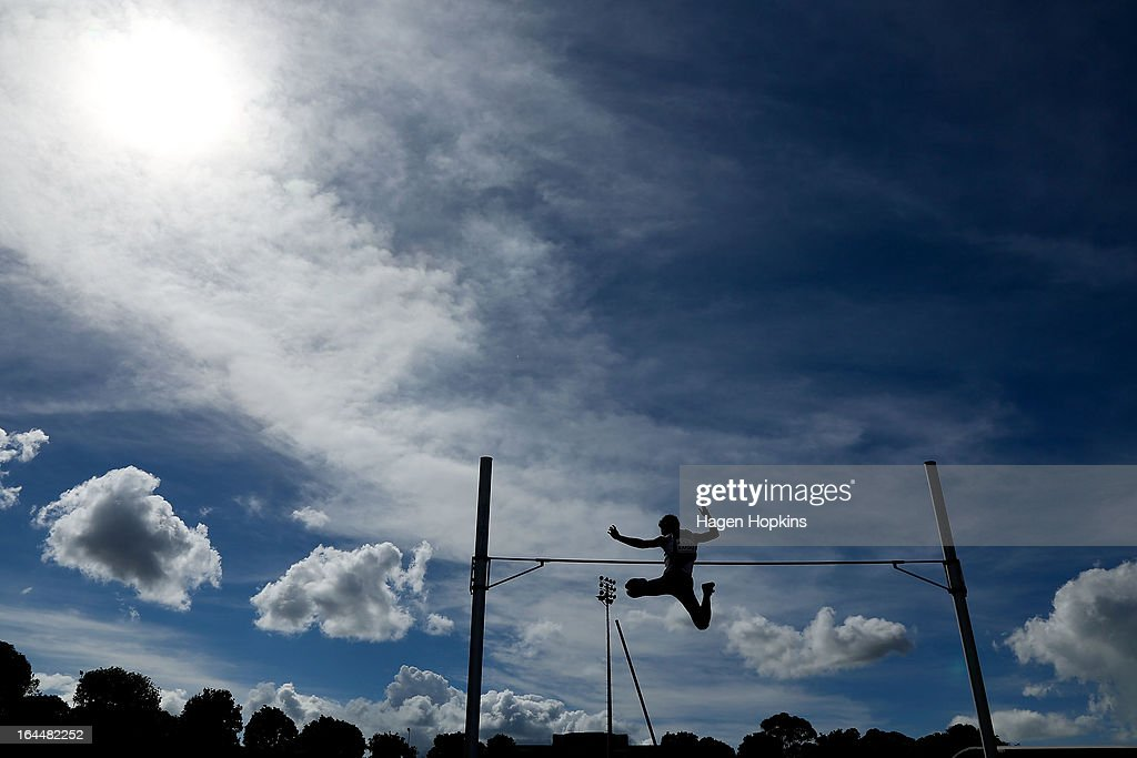 Pascal Kethers of Auckland competes in the men's under 20 pole vault during the New Zealand Track and Field Championships at Mt Smart Stadium on March 24, 2013 in Auckland, New Zealand.