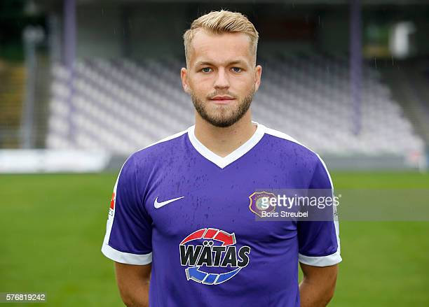 Pascal Koepke of Erzgebirge Aue poses during the FC Erzgebirge Aue Team Presentation at Sparkassenerzgebirgsstadion on July 17 2016 in Aue Germany