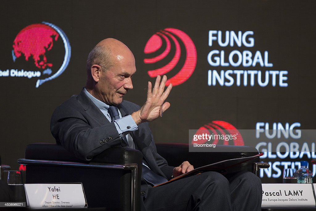 <a gi-track='captionPersonalityLinkClicked' href=/galleries/search?phrase=Pascal+Lamy&family=editorial&specificpeople=220438 ng-click='$event.stopPropagation()'>Pascal Lamy</a>, former director general of the World Trade Organization (WTO), gestures as he speaks during the Asia-Global Dialogue conference in Hong Kong, China, on Friday, Dec. 6, 2013. The Asia-Global Dialogue conference concludes today. Photographer: Jerome Favre/Bloomberg via Getty Images