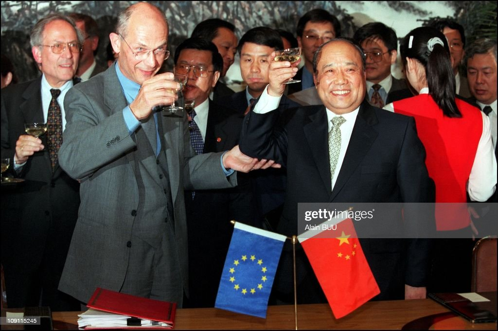 <a gi-track='captionPersonalityLinkClicked' href=/galleries/search?phrase=Pascal+Lamy&family=editorial&specificpeople=220438 ng-click='$event.stopPropagation()'>Pascal Lamy</a> Signed The Agreement Of China'S Accession To The World Trade Organization. On May 19Th, 2000 Shi Guangsheng, Chinese Foreign Trade Minister Proposes A Toast To <a gi-track='captionPersonalityLinkClicked' href=/galleries/search?phrase=Pascal+Lamy&family=editorial&specificpeople=220438 ng-click='$event.stopPropagation()'>Pascal Lamy</a>, European Commission Trade Commissioner.