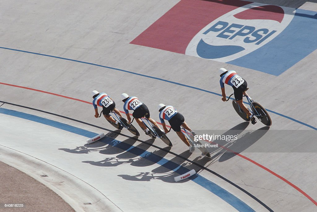 Pascal Lino Pascal Peyramaure Didier Pasgrimaud and Pascal Potie ofTeam France team during the 4000m Team Pursuit race during the World Cycling...