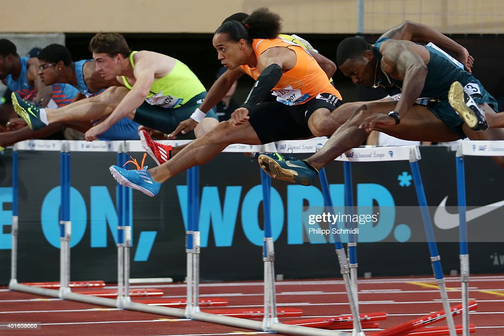 Pascal Martinot Lagarde of France (2ndR) competes in the Men's 110m Hurdles race at the IAAF Diamond League Athletics meeting 'Athletissima' on July 3, 2014 in Lausanne, Switzerland.