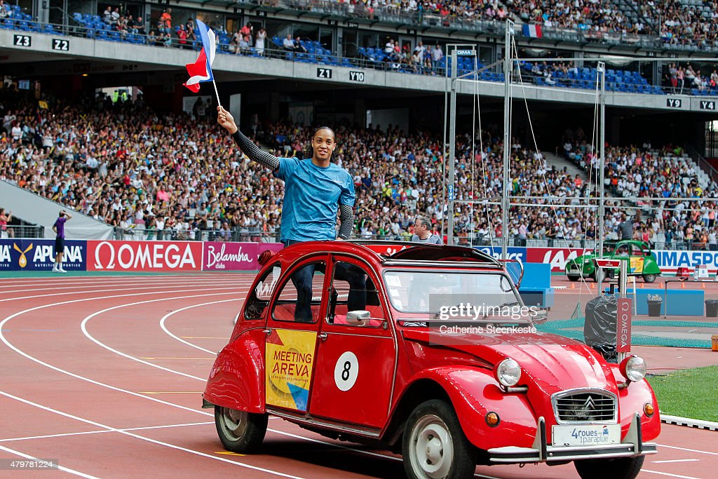 Pascal Martinot Lagarde of France who competes in the Men's 110m Hurdles is presented to the public via a lap of track in a 2 CV during the Meeting AREVA of the IAAF Diamond League 2015 at Stade de France on July 4, 2015 in in Saint Denis nearby Paris, France.