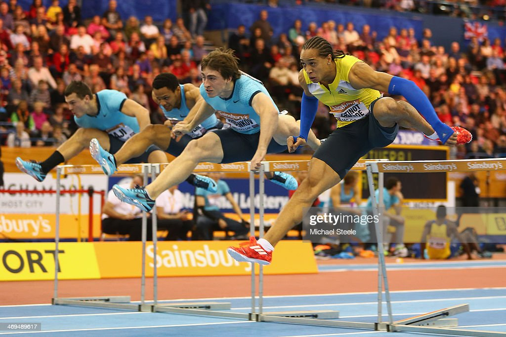 <a gi-track='captionPersonalityLinkClicked' href=/galleries/search?phrase=Pascal+Martinot-Lagarde&family=editorial&specificpeople=7114926 ng-click='$event.stopPropagation()'>Pascal Martinot-Lagarde</a> (R) of France on his way tovictory from <a gi-track='captionPersonalityLinkClicked' href=/galleries/search?phrase=Sergey+Shubenkov&family=editorial&specificpeople=8099833 ng-click='$event.stopPropagation()'>Sergey Shubenkov</a> (C) of Russia in the men's 60 metres final during the Sainsbury's Indoor Grand Prix at the NIA Arena on February 15, 2014 in Birmingham, England.