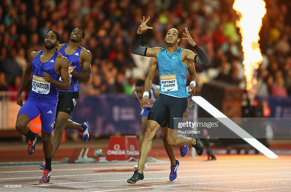 <a gi-track='captionPersonalityLinkClicked' href=/galleries/search?phrase=Pascal+Martinot-Lagarde&family=editorial&specificpeople=7114926 ng-click='$event.stopPropagation()'>Pascal Martinot-Lagarde</a> of France (r) reacts after being beaten on the line by <a gi-track='captionPersonalityLinkClicked' href=/galleries/search?phrase=Jason+Richardson+-+Hurdler&family=editorial&specificpeople=15223987 ng-click='$event.stopPropagation()'>Jason Richardson</a> of the United States (L) during day one of the Sainsbury's Anniversary Games at The Stadium - Queen Elizabeth Olympic Park on July 24, 2015 in London, England.