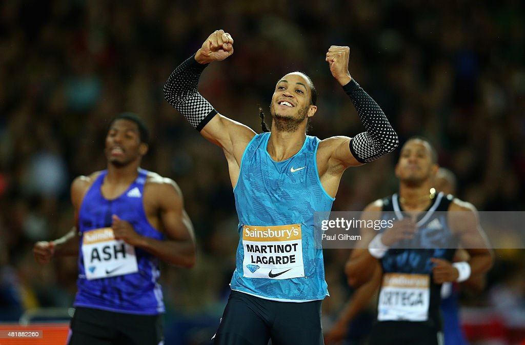 <a gi-track='captionPersonalityLinkClicked' href=/galleries/search?phrase=Pascal+Martinot-Lagarde&family=editorial&specificpeople=7114926 ng-click='$event.stopPropagation()'>Pascal Martinot-Lagarde</a> of France reacts after being beaten on the line by <a gi-track='captionPersonalityLinkClicked' href=/galleries/search?phrase=Jason+Richardson+-+Hurdler&family=editorial&specificpeople=15223987 ng-click='$event.stopPropagation()'>Jason Richardson</a> of the United States during day one of the Sainsbury's Anniversary Games at The Stadium - Queen Elizabeth Olympic Park on July 24, 2015 in London, England.