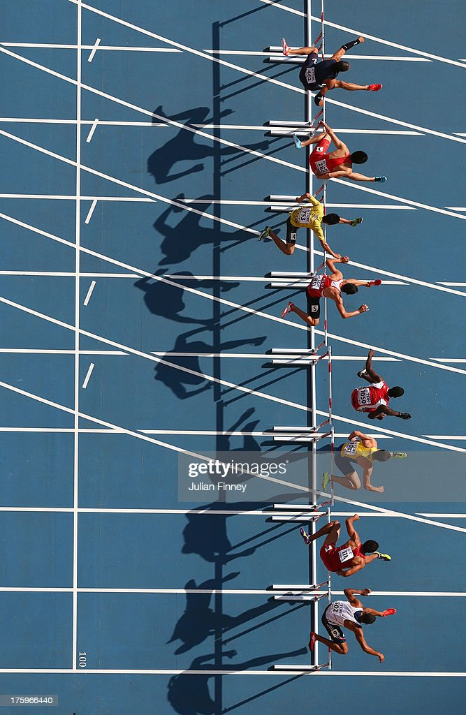 <a gi-track='captionPersonalityLinkClicked' href=/galleries/search?phrase=Pascal+Martinot-Lagarde&family=editorial&specificpeople=7114926 ng-click='$event.stopPropagation()'>Pascal Martinot-Lagarde</a> of France, Wenjun Xie of China, Xaysa Anousone of Laos, Jorge McFarlane of Peru, Wayne C. Davis II of Trinidad and Tobago, Philip Nossmy of Sweden, <a gi-track='captionPersonalityLinkClicked' href=/galleries/search?phrase=Ryan+Wilson+-+Hurdler&family=editorial&specificpeople=11223975 ng-click='$event.stopPropagation()'>Ryan Wilson</a> of the United States and <a gi-track='captionPersonalityLinkClicked' href=/galleries/search?phrase=William+Sharman+-+Runner&family=editorial&specificpeople=11524944 ng-click='$event.stopPropagation()'>William Sharman</a> of Great Britain compete in the Men's 110 metres hurdles heats during Day Two of the 14th IAAF World Athletics Championships Moscow 2013 at Luzhniki Stadium on August 11, 2013 in Moscow, Russia.