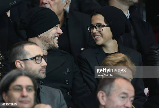 Pascal Obispo and his son Sean Obispo attend the Ligue 1 match between Paris SaintGermain FC and AS SaintEtienne at Parc des Princes stadium on March...