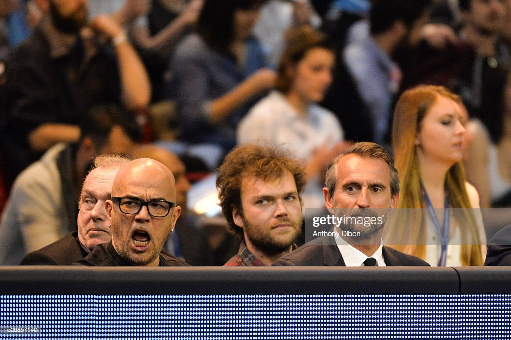 Pascal Obispo and Jean Claude Blanc of PSG during the EHB Handball Champions League match, second Leg, Round of 8, between Paris Saint Germain and HC Zagreb on May 1, 2016 in Paris, France.