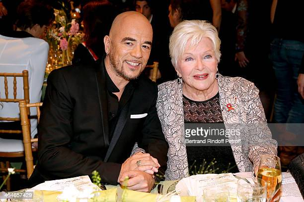 Pascal Obispo and Line Renaud attend the Sidaction Gala Dinner 2014 at Pavillon d'Armenonville on January 23 2014 in Paris France