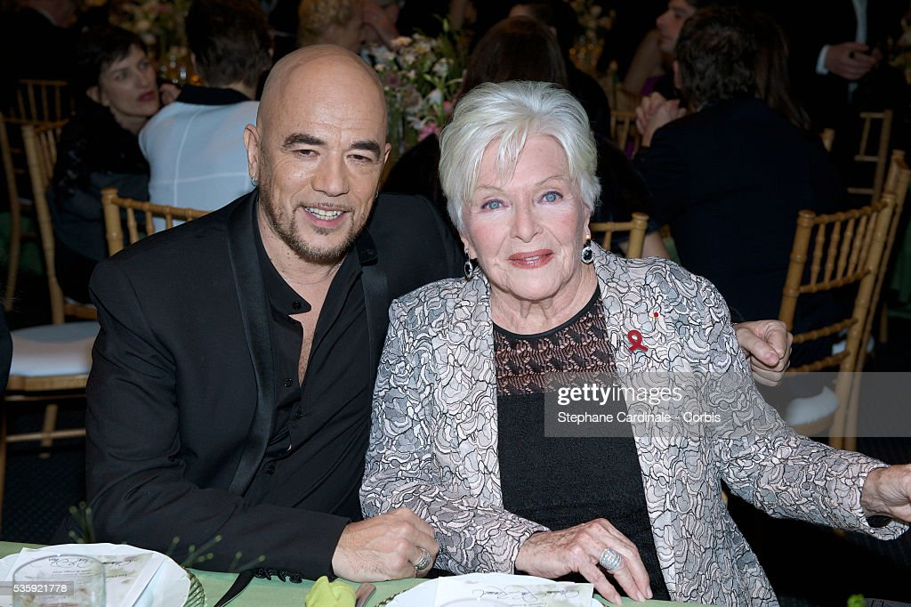 Pascal Obispo and Line Renaud attend the Sidaction Gala Dinner at Pavillon d'Armenonville, in Paris.