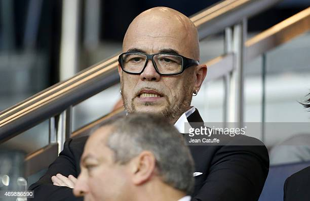 Pascal Obispo attends the UEFA Champions League quater final first leg match between Paris SaintGermain and FC Barcelona at Parc des Princes stadium...