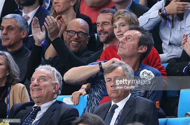 Pascal Obispo JeanClaude Blanc JeanLuc Reichmann attend the 25th IHF Men's World Championship 2017 Semi Final handball match between France and...