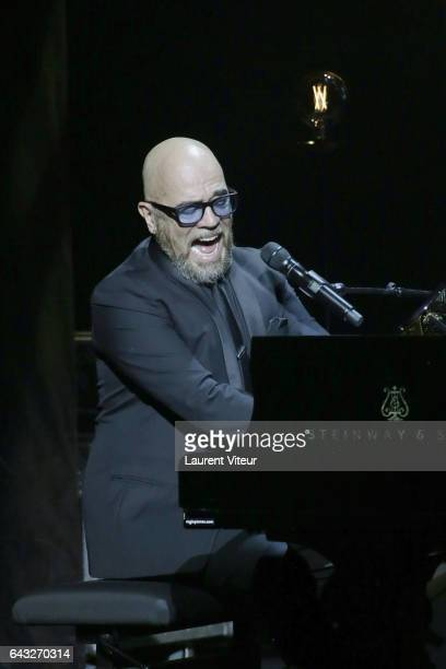 Pascal Obispo performs during 'La Nuit De La Deprime 2017' at Folies Bergeres on February 20 2017 in Paris France