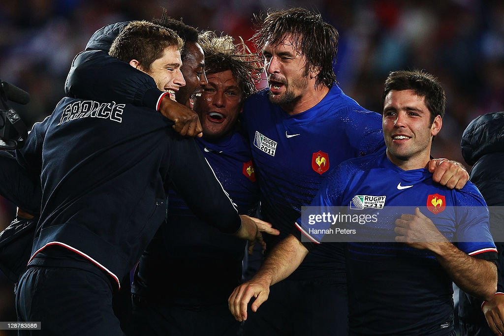 Pascal Pape, Fulgence Ouedraogo, Dimitri Szarzewski, Lionel Nallet and Dimitri Yachvili of France celebrate victory at the final whistle after the quarter final two of the 2011 IRB Rugby World Cup between England and France at Eden Park on October 8, 2011 in Auckland, New Zealand.