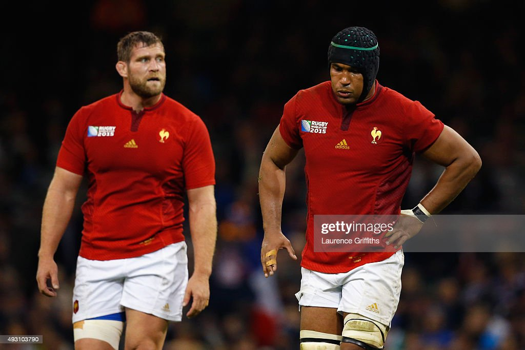 Pascal Pape of France and Thierry Dusautoir of France are dejected following a New Zealand try during the 2015 Rugby World Cup Quarter Final match between New Zealand and France at the Millennium Stadium on October 17, 2015 in Cardiff, United Kingdom.