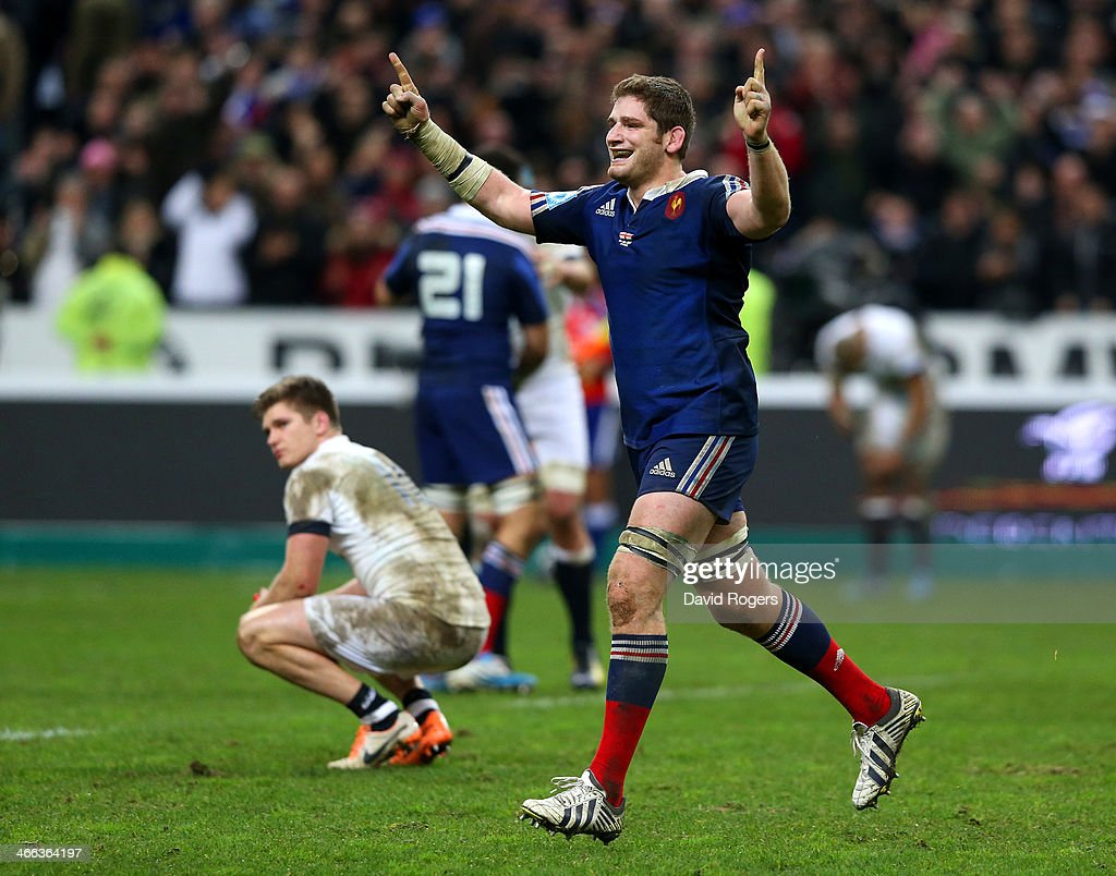 <a gi-track='captionPersonalityLinkClicked' href=/galleries/search?phrase=Pascal+Pape&family=editorial&specificpeople=780512 ng-click='$event.stopPropagation()'>Pascal Pape</a> of France celebrates victory during the RBS Six Nations match between France and England at Stade de France on February 1, 2014 in Paris, France.