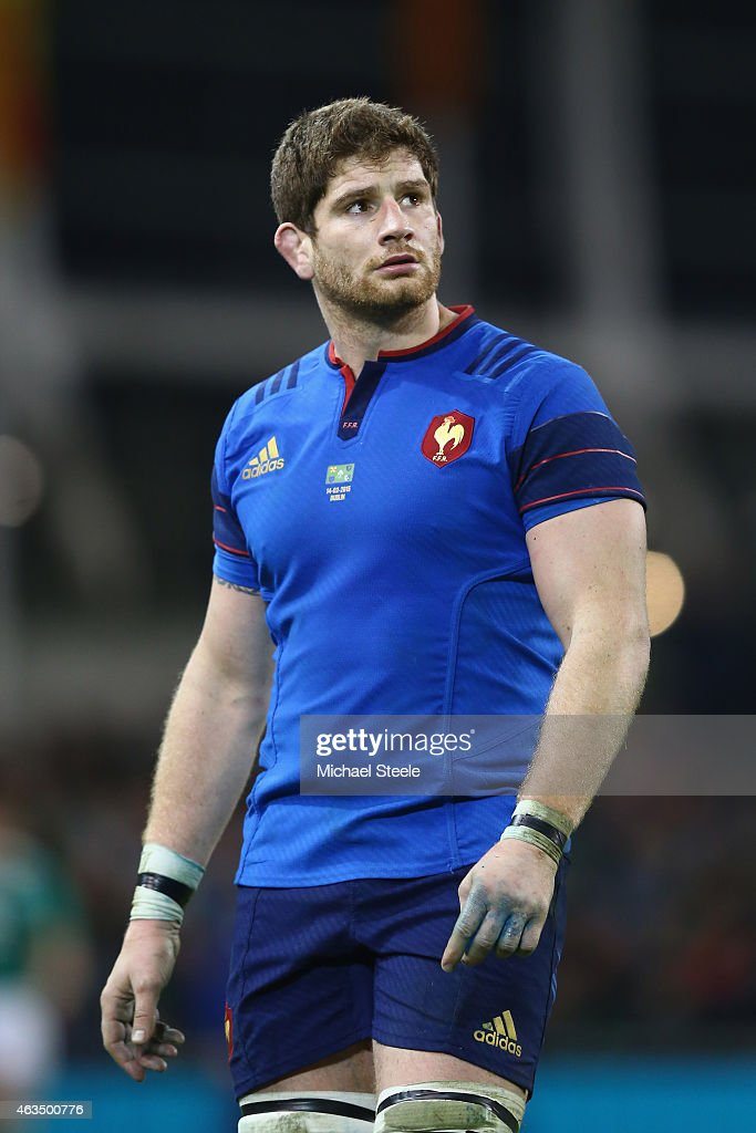 Pascal Pape of France walks from the field of play after receiving a yellow card during the RBS Six Nations match between Ireland and France at the Aviva Stadium on February 14, 2015 in Dublin, Ireland.