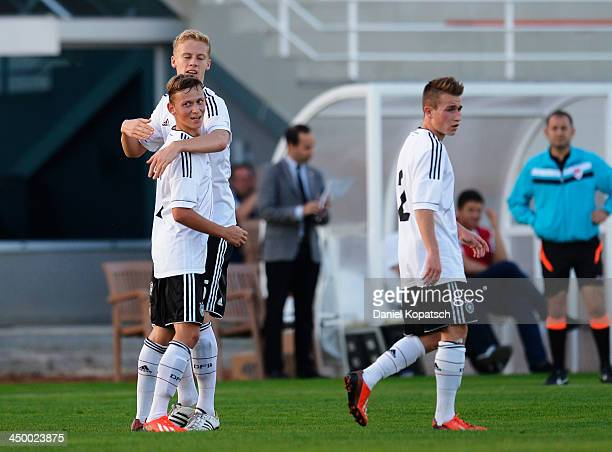 Pascal Sattelberger of Germany celebrates his team's first goal with team mates during the U18 international friendly match between Czech Republic...