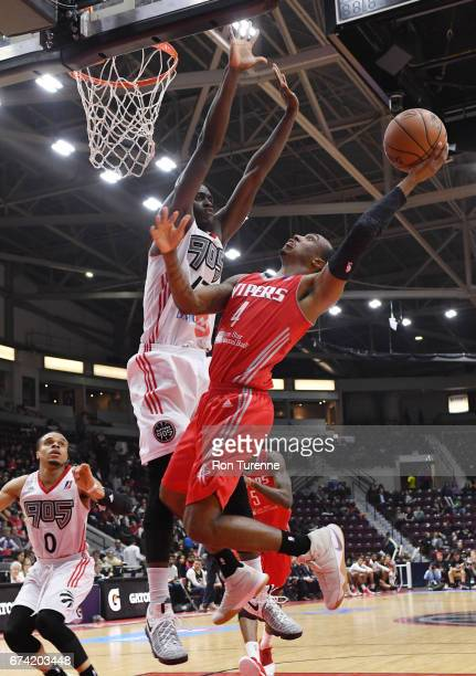 Pascal Siakam of the Raptors 905 defends against Jarvis Threatt of the Rio Grande Valley Vipers during the fourth quarter in Game Three of the...