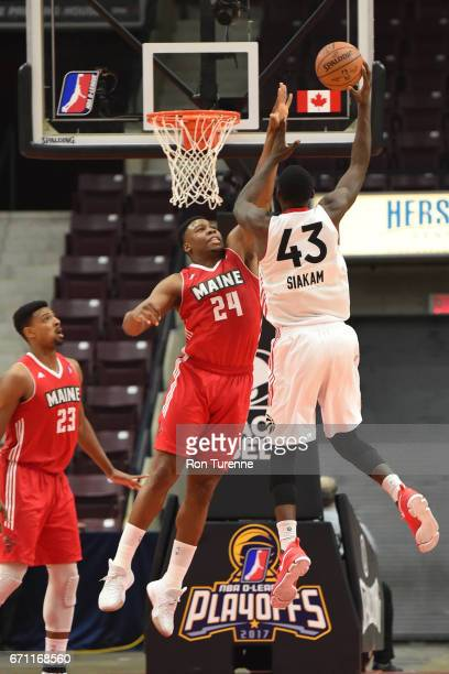 Pascal Siakam of the Raptors 905 drives to the basket and shoots over Guerschon Yabusele of the Maine Red Claws during Game Two of the NBA DLeague...