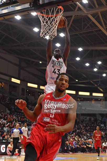 Pascal Siakam of the Raptors 905 dunks the ball against the Rio Grande Valley Vipers during Game Two of the DLeague Finals at the Hershey Centre on...