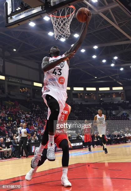 Pascal Siakam of the Raptors 905 goes to the basket on Kyle Wiltjer of the Rio Grande Valley Vipers during the first quarter of Game Three of the...
