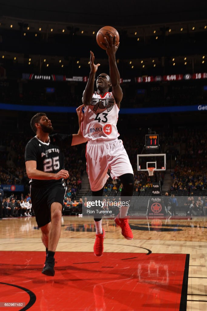 Pascal Siakam #43 of the Raptors 905 goes up for the shot during the game against the Austin Spurs at the Air Canada Centre on March 13, 2017 in Toronto, Ontario, Canada.