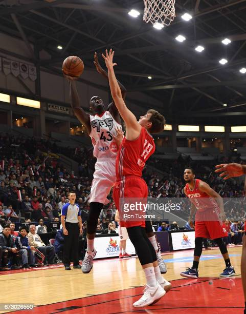 Pascal Siakam of the Raptors 905 goes up for the shot over Kyle Wiltjer of the Rio Grande Valley Vipers at the Hershey Centre on April 25 2017 in...