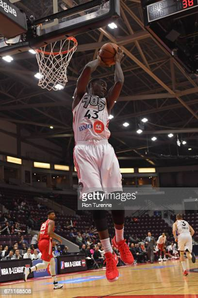 Pascal Siakam of the Raptors 905 grabs a rebound against the Maine Red Claws during Game Two of the NBA DLeague Eastern Conference Finals on April 19...