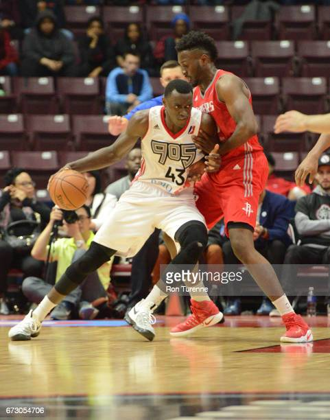 Pascal Siakam of the Raptors 905 handles the ball during Game Two of the DLeague Finals against the Rio Grande Valley Vipers at the Hershey Centre on...