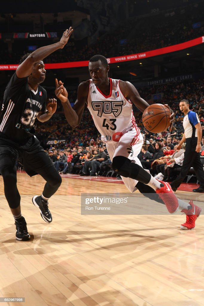 Pascal Siakam #43 of the Raptors 905 handles the ball during the game against the Austin Spurs at the Air Canada Centre on March 13, 2017 in Toronto, Ontario, Canada.