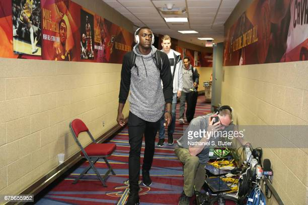 Pascal Siakam of the Toronto Raptors arrives before the game against the Cleveland Cavaliersin Game One of the Eastern Conference Semifinals of the...