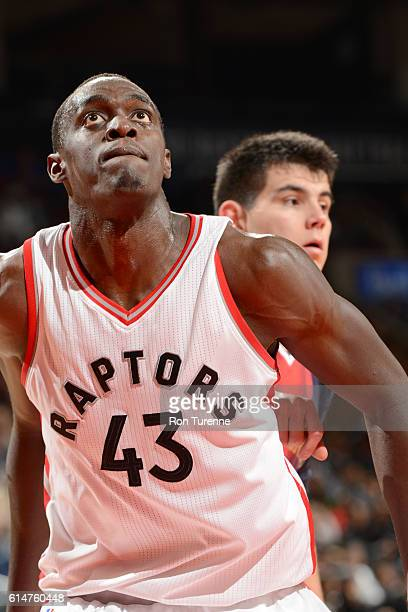 Pascal Siakam of the Toronto Raptors boxes out against the San Lorenzo de Almagro during a preseason game on October 14 2016 at the Air Canada Centre...