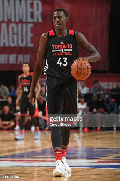 Pascal Siakam of the Toronto Raptors dribbles against the Minnesota Timberwolves during the 2017 Las Vegas Summer League on July 8 2017 at the Thomas...