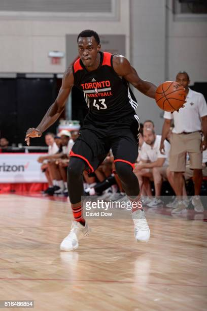 Pascal Siakam of the Toronto Raptors dribbles against the New Orleans Pelicans during the 2017 Las Vegas Summer League on July 7 2017 at the Cox...