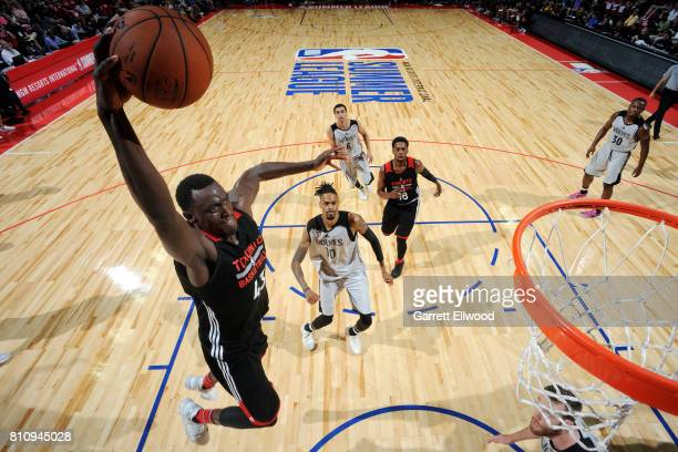 Pascal Siakam of the Toronto Raptors dunks the ball during the game against the Minnesota Timberwolves during the 2017 Las Vegas Summer League on...