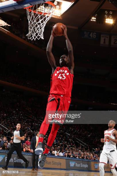 Pascal Siakam of the Toronto Raptors dunks the ball during the game against the New York Knicks on November 22 2017 at Madison Square Garden in New...