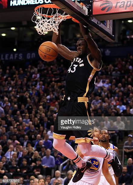 Pascal Siakam of the Toronto Raptors dunks the ball during the second half of an NBA game against the Golden State Warriors at Air Canada Centre on...