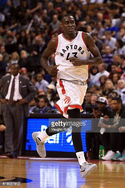Pascal Siakam of the Toronto Raptors during an NBA game against the Detroit Pistons at Air Canada Centre on October 26 2016 in Toronto Canada NOTE TO...