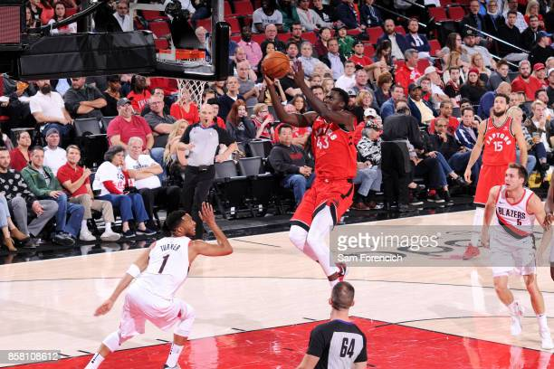 Pascal Siakam of the Toronto Raptors goes for a lay up during the game against the Portland Trail Blazers during a preseason game on October 5 2017...